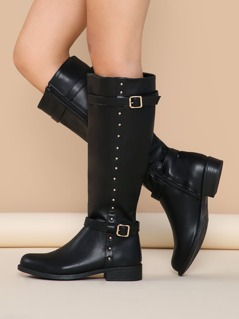 Studded Buckle Accent Knee High Low Riding Boots
