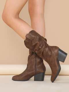 Slouchy Almond Toe Stacked Heel Western Boots