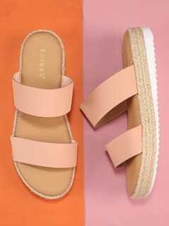 Jute Trimmed Double Band Flatform Sandals