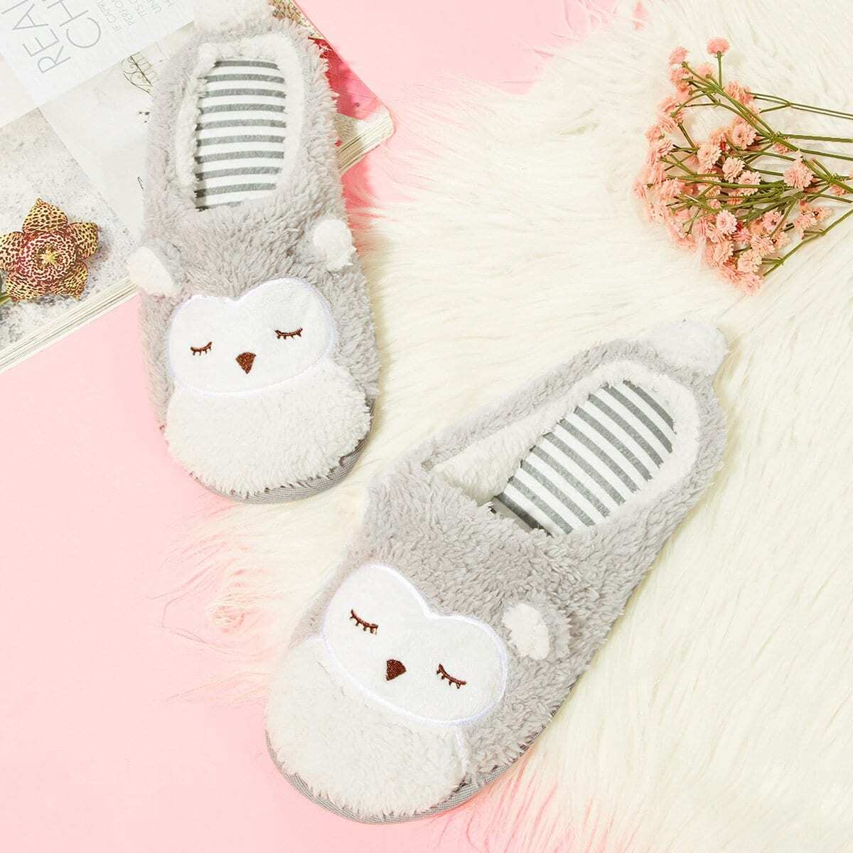 Fluffy Uil Slippers