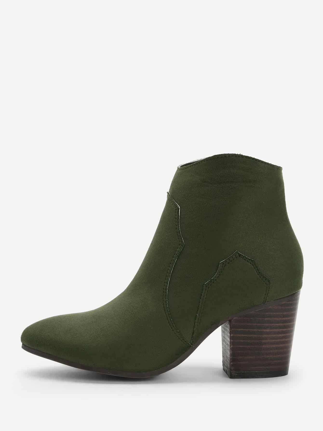 Купить Однотонные короткие сапоги на высоких каблуках, null, SheIn
