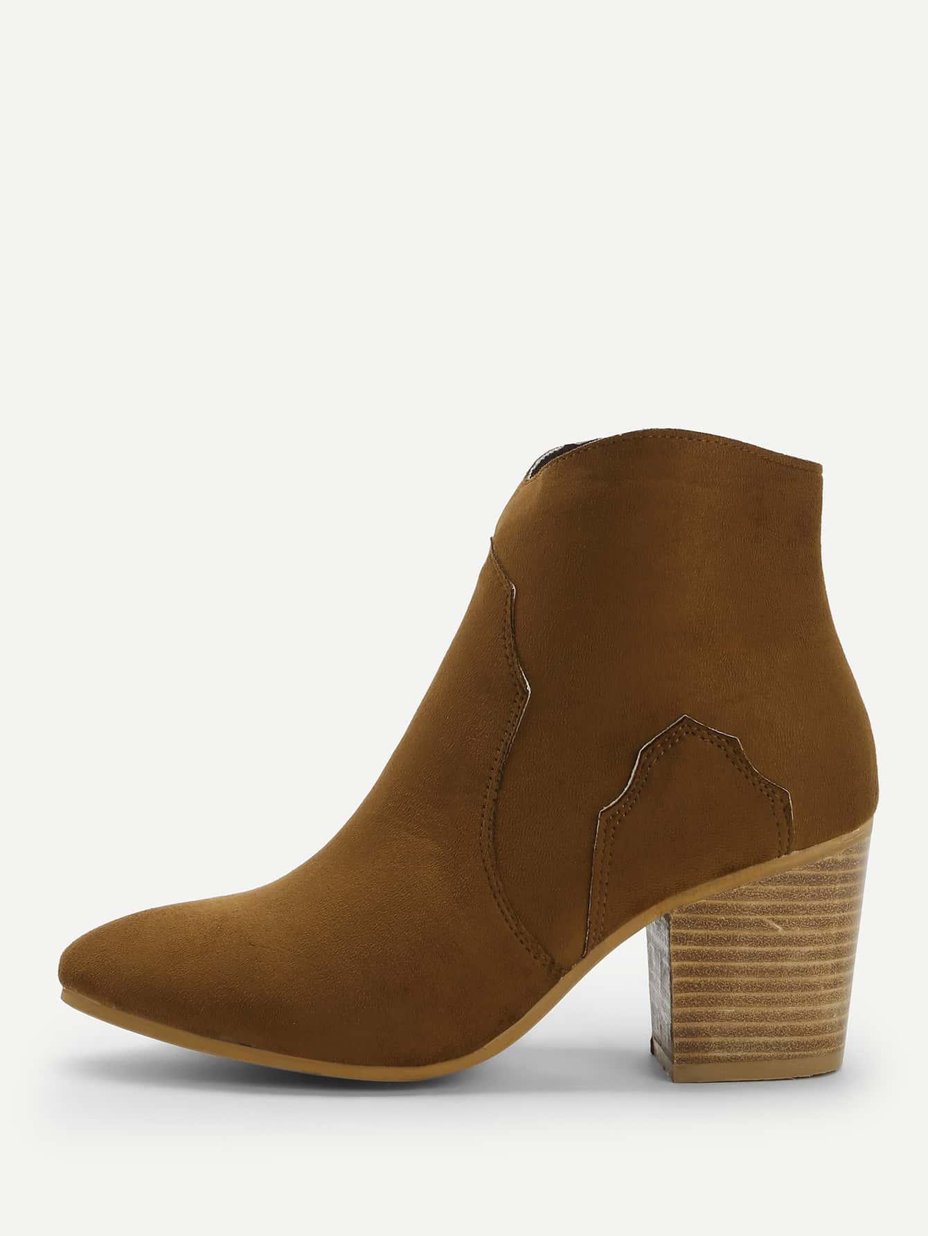 Купить Однотонные короткие сапоги на коренастых каблуках, null, SheIn
