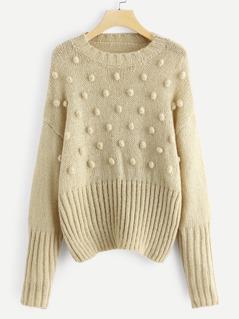Drop Shoulder Pompom Beaded Sweater