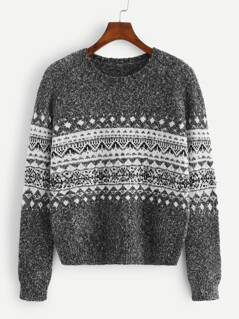 Geo Print Round Neck Sweater