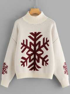 Snowflake Print High Neck Sweater