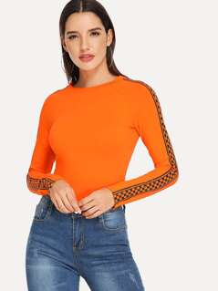 Neon Orange Check Print Raglan Sleeve Fitted T-shirt