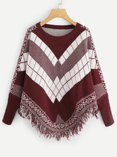 Mixed Print Fringe Hem Jumper