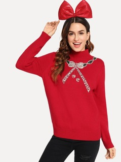 Christmas Sequin Patch Soft Knit Sweater