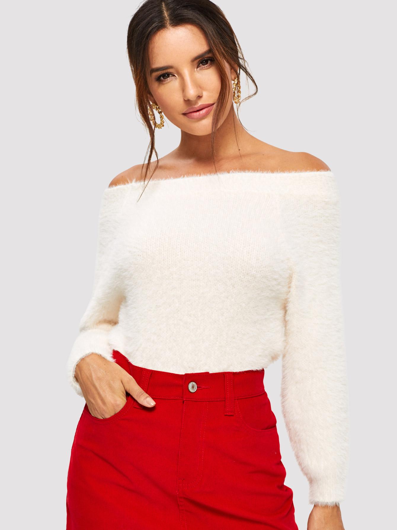 Купить Пушистый свитер с открытыми плечами, Juliana, SheIn