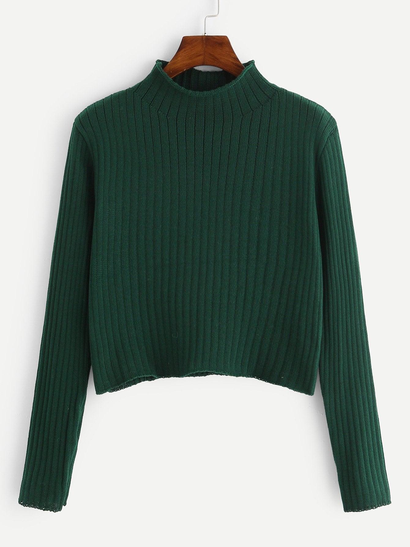 Купить Ребристый вязанный свитер с стоячим воротником, null, SheIn