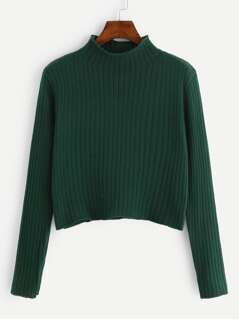 Stand Collar Rib Knit Sweater