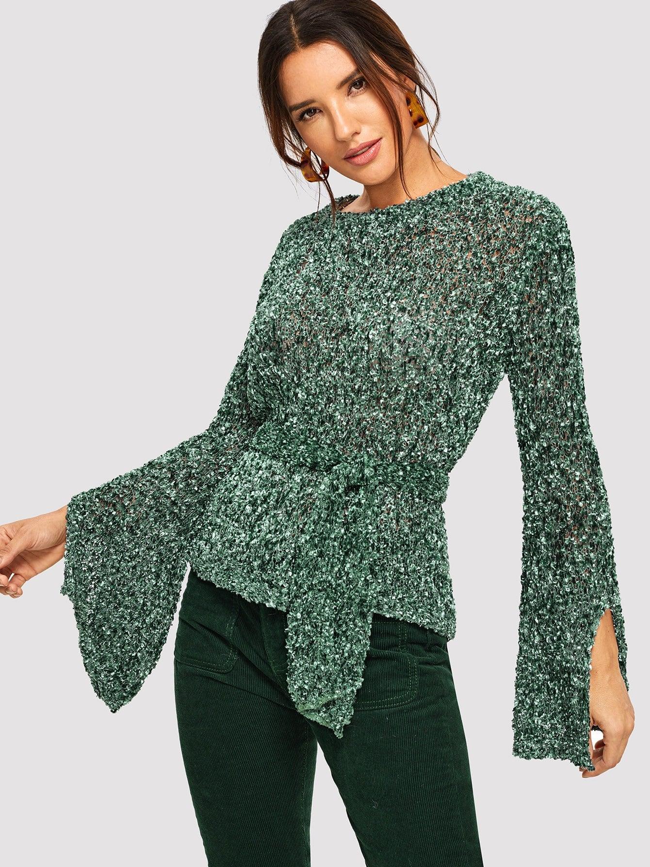 Купить Рваный свитер с оборками рукавами с завязкой на талии, Juliana, SheIn