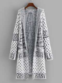 Print Hooded Fuzzy Cardigan