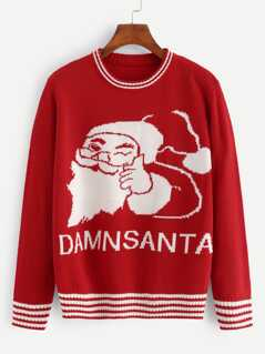 Christmas Striped Trim Santa Sweater