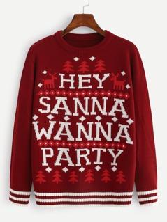 Christmas Striped Hem Letter Sweater
