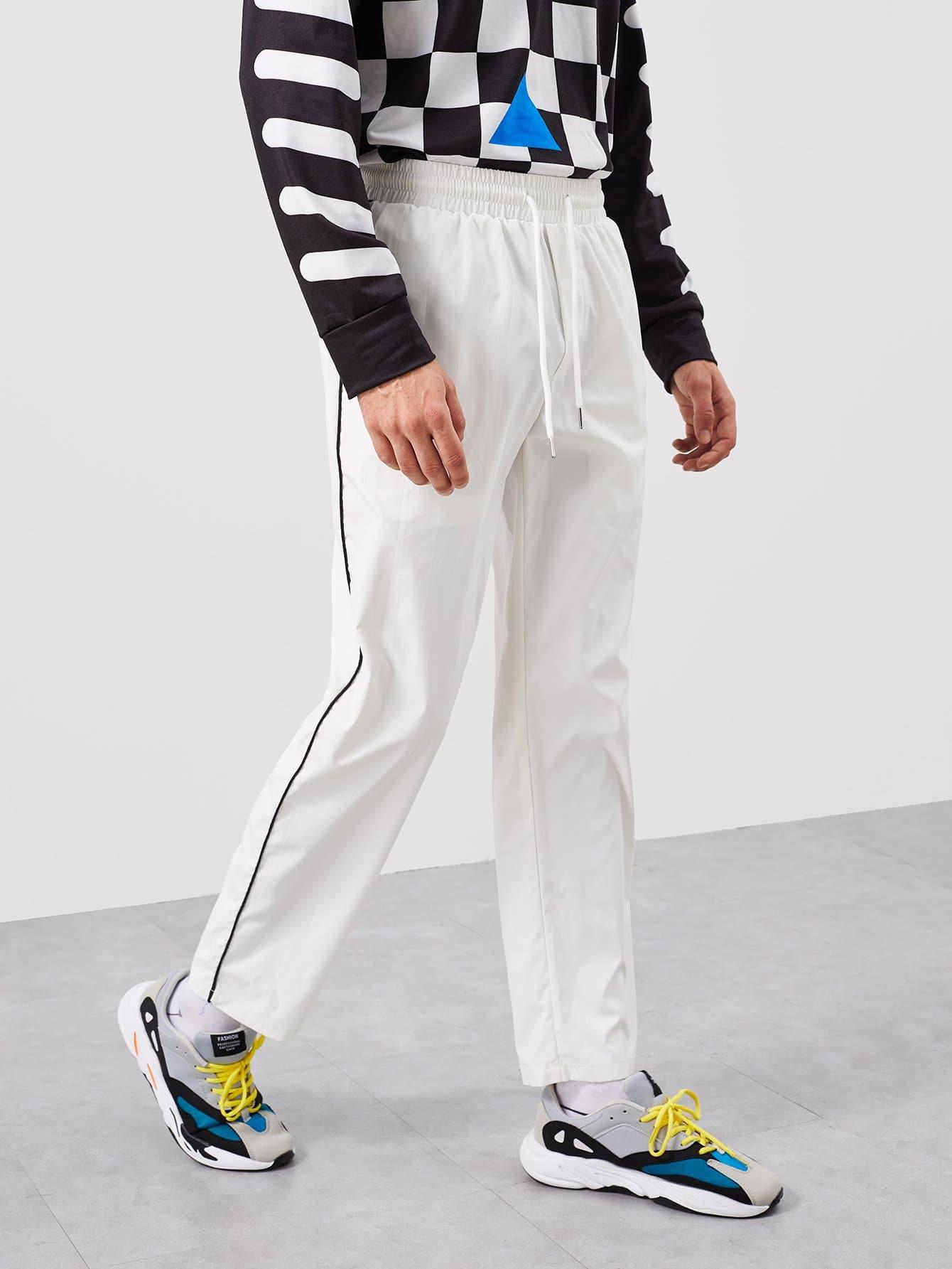Купить Для мужчин прямолинейные брюки с кулиской, Antonio, SheIn