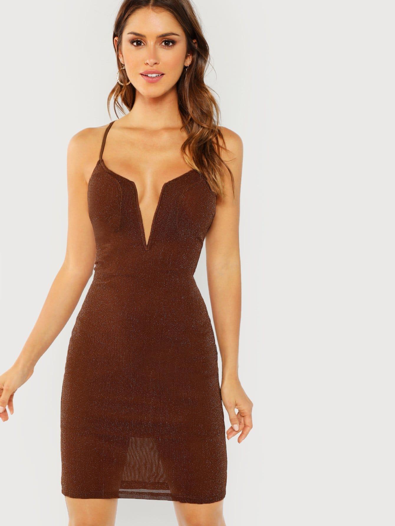 Купить Облегающое платье на бретелях и с открытой спиной и шнурками, Gigi Paris, SheIn