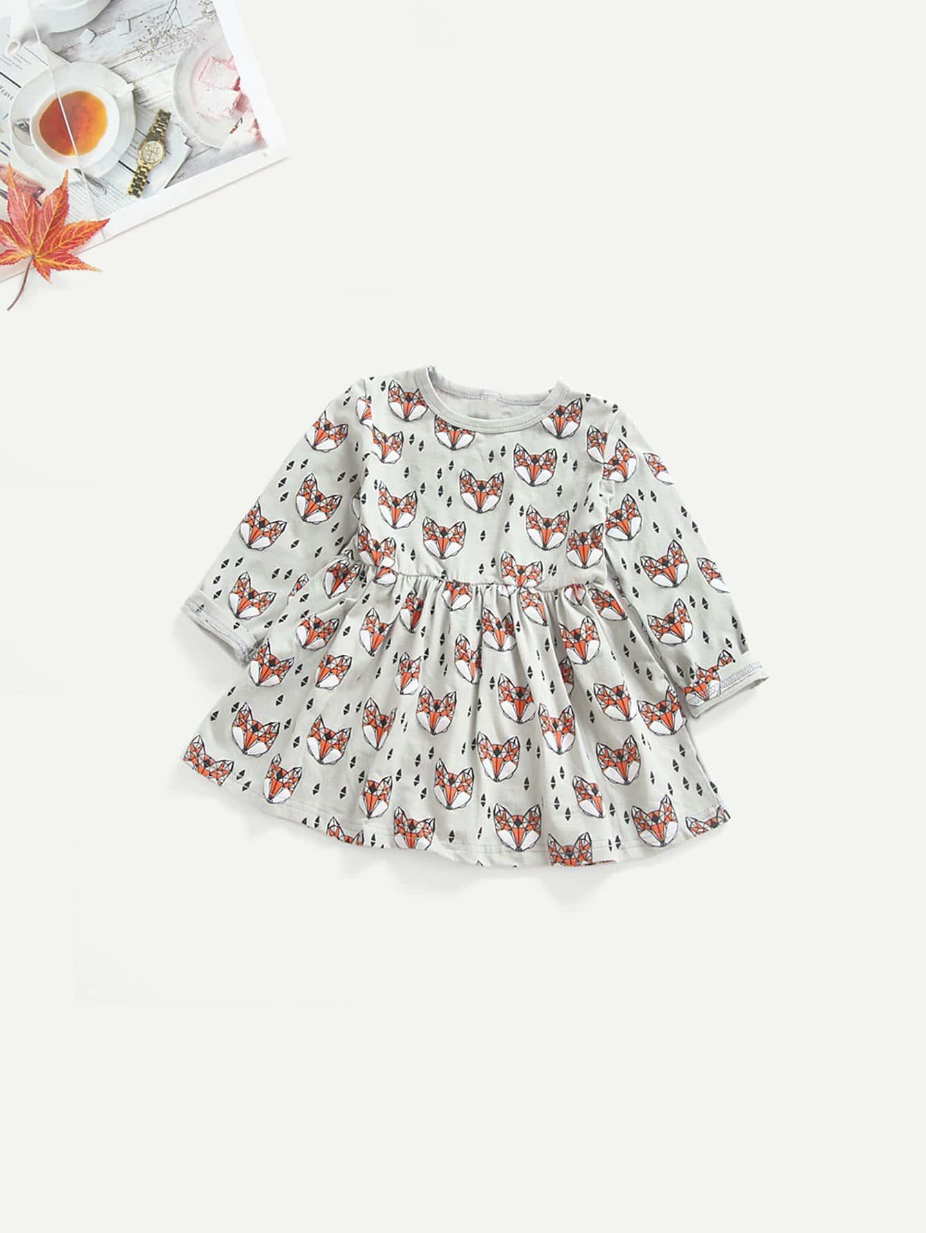 Купить Для маленьких девочек платье с принтом мультфильма, null, SheIn