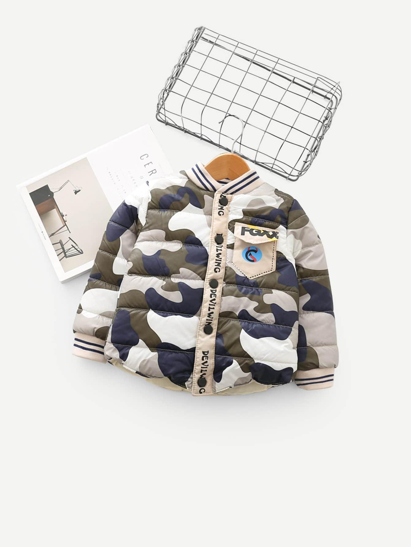 Купить Для маленьких мальчиков камуфляжное толстое пальто, null, SheIn