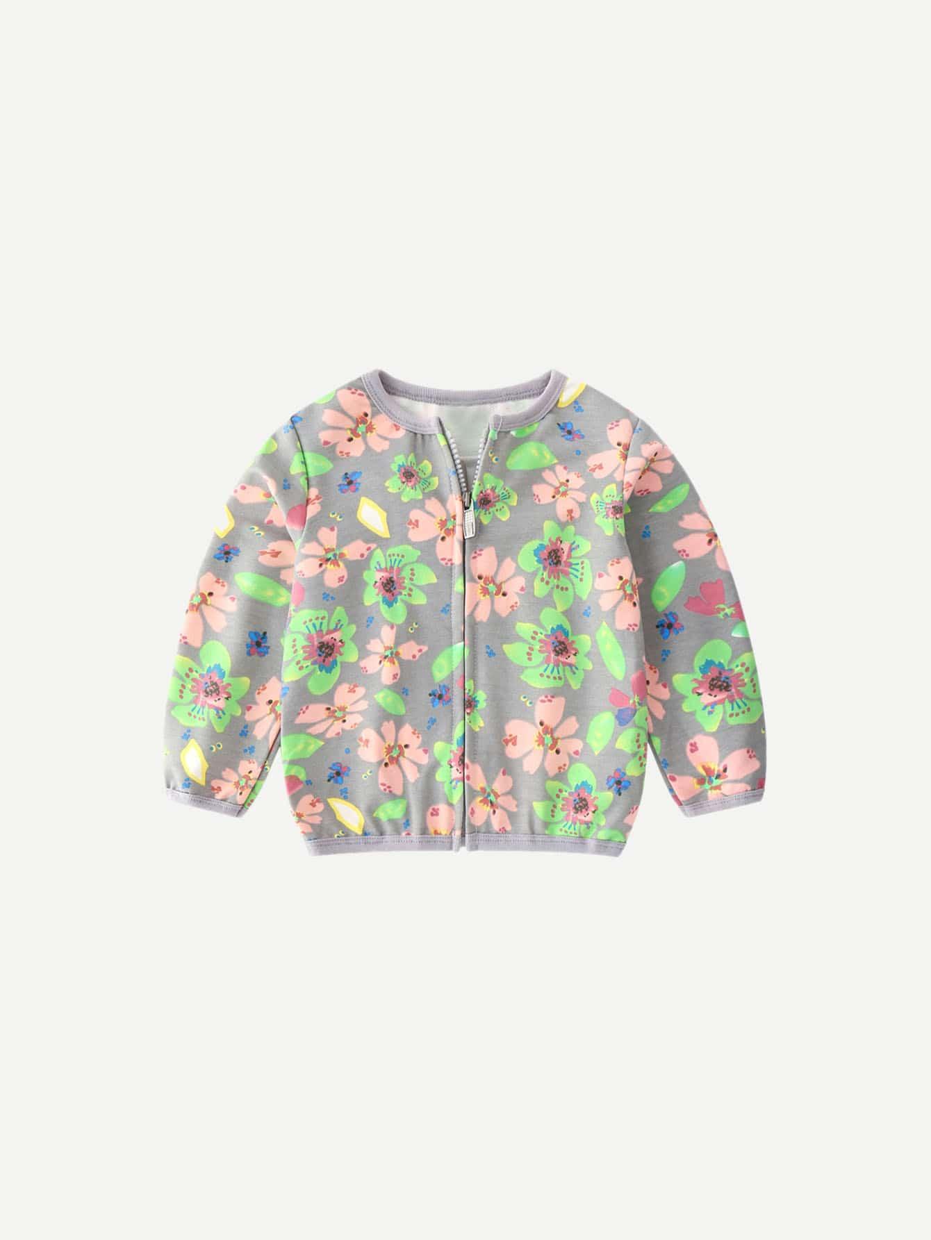 Купить Для маленьких девочек куртка с цветочным принтом, null, SheIn