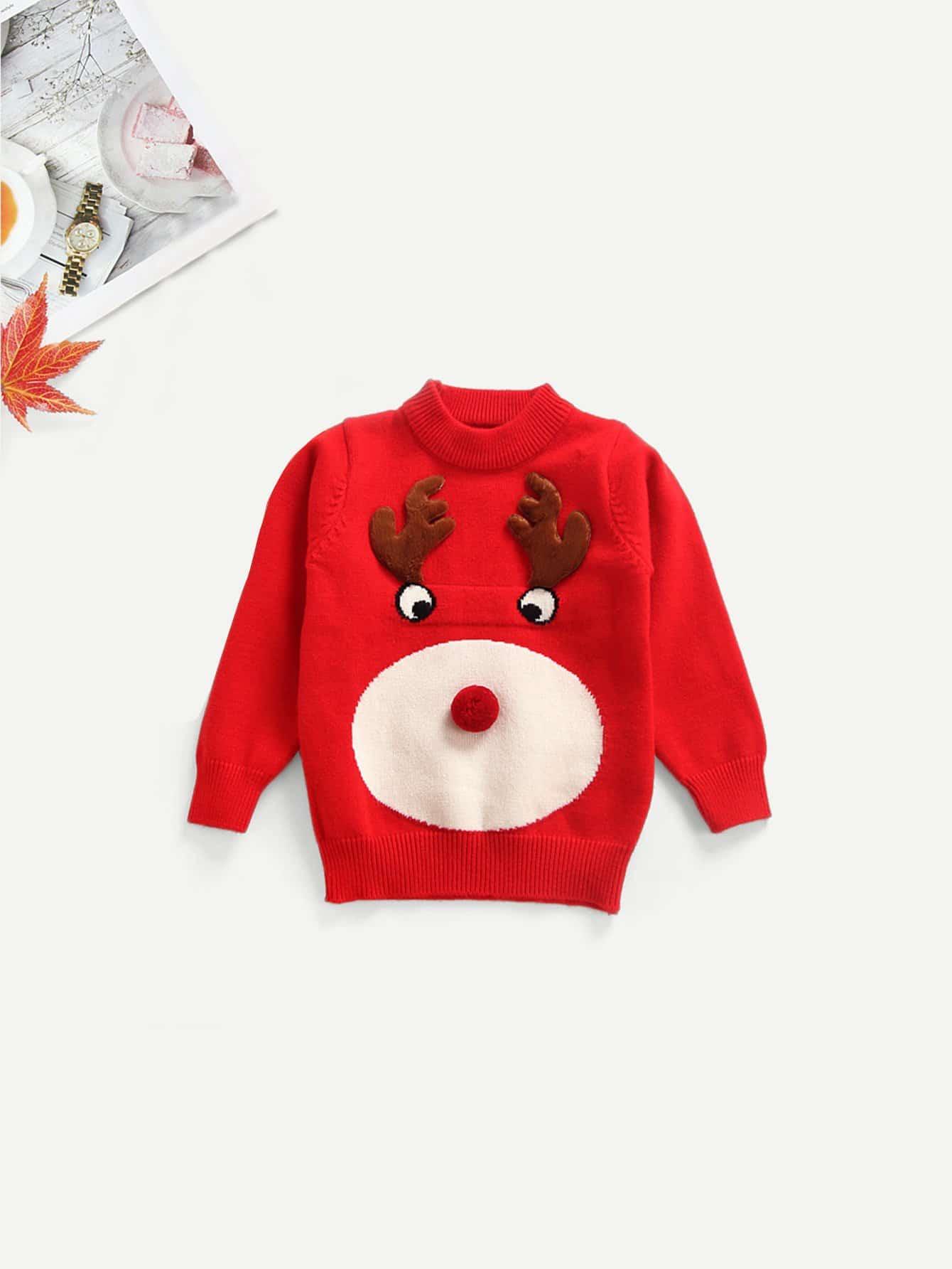 Купить Для маленьких девочек свитер с помпоном с принтом мультфильма, null, SheIn