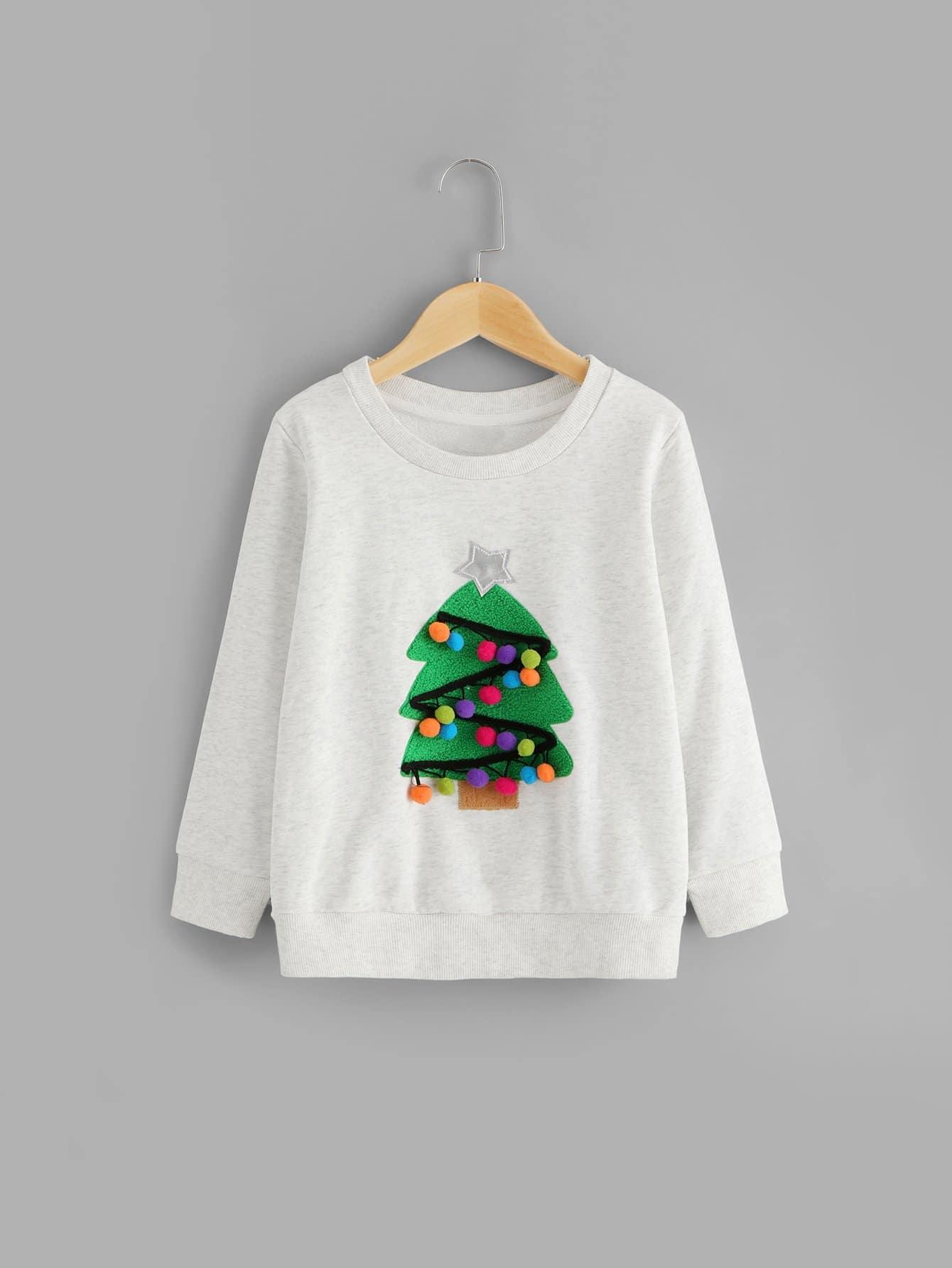 Купить Свитшот с помпонами и принтом рождественского дерева для малышских девочек, null, SheIn