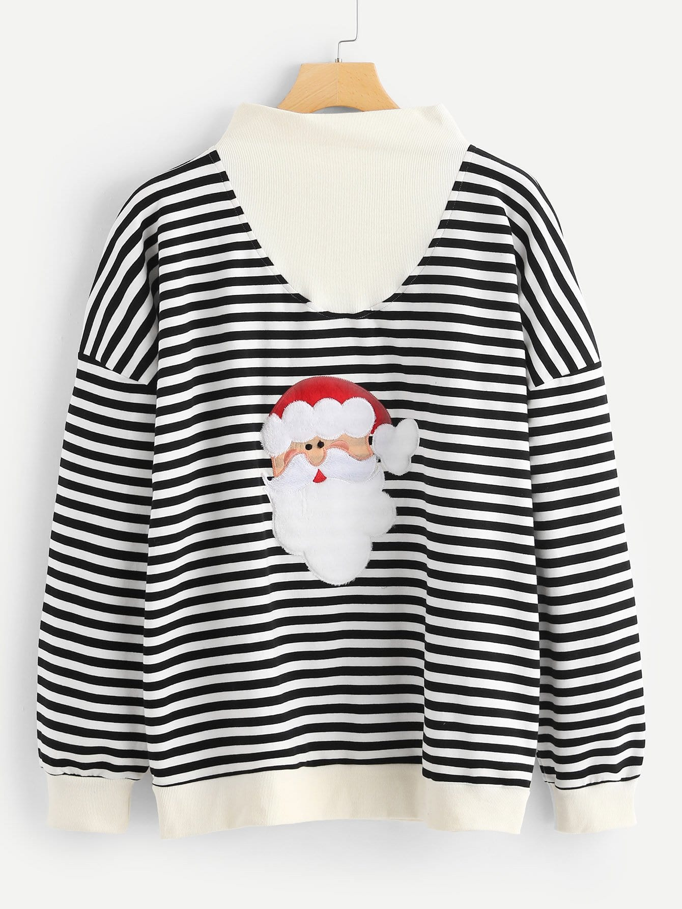 Купить Мужский полосатый свитшот с вышивкой и принтом рождественским, null, SheIn