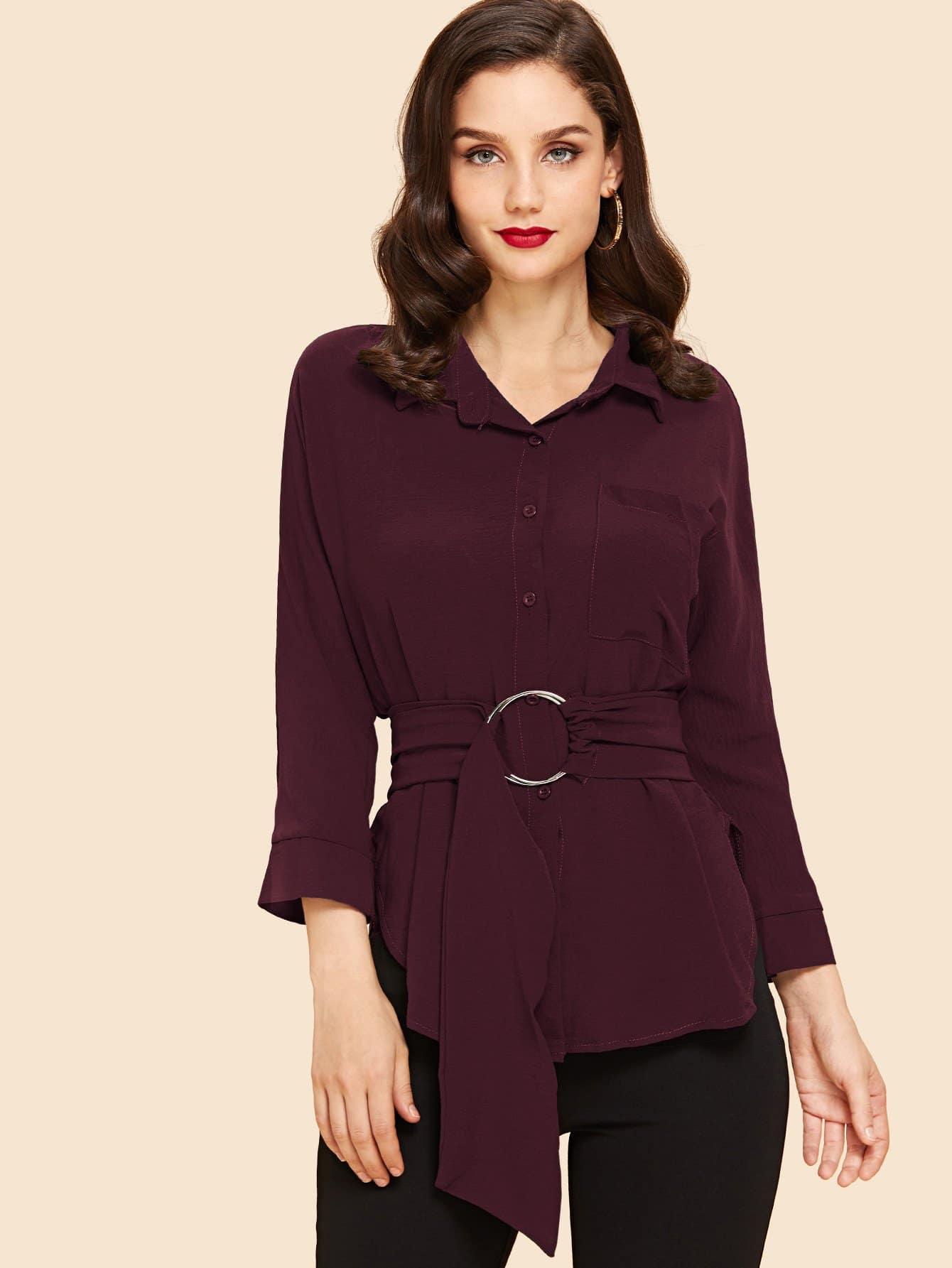 Купить Однобортная блуза с поясом и кольцом, Julie H., SheIn