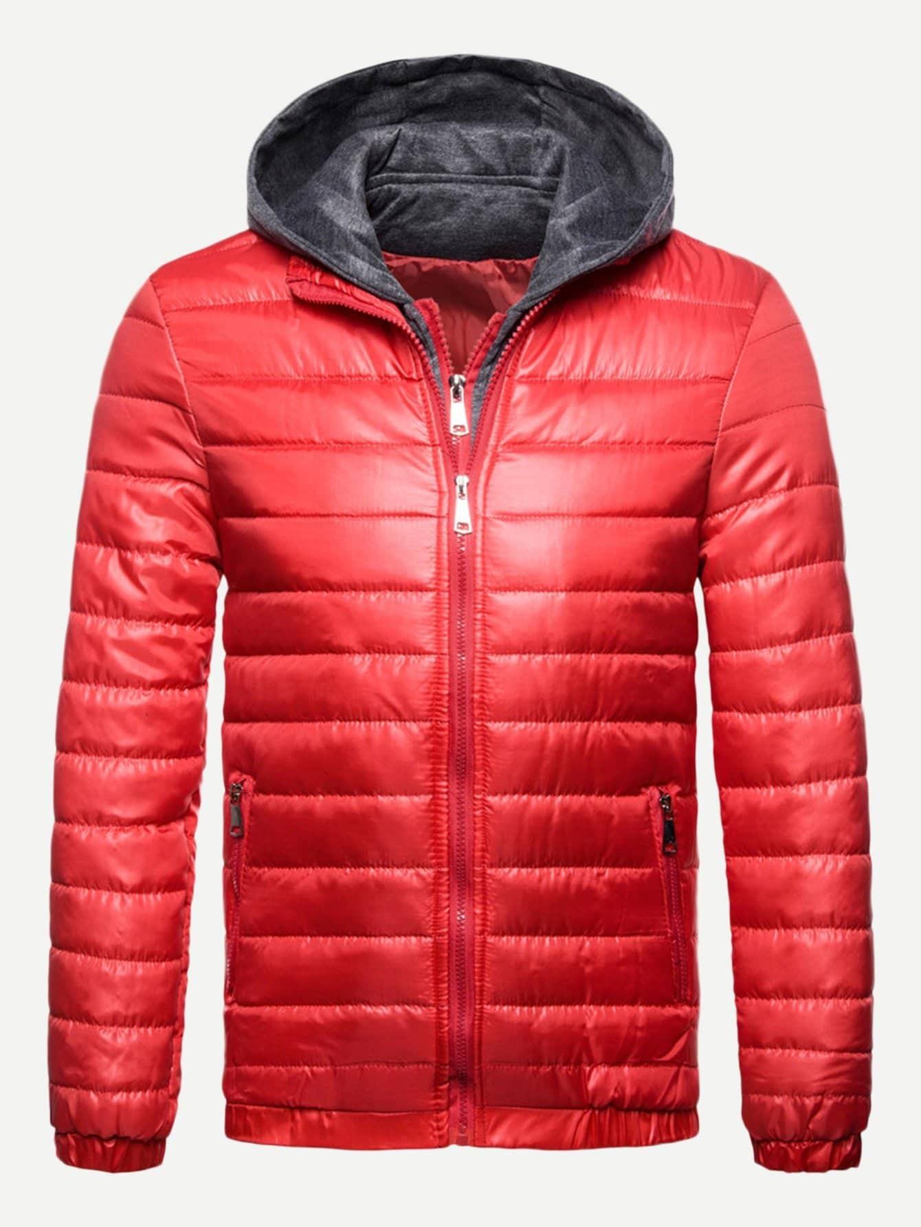 Купить Мужское простое подбитое пальто с капюшоном, null, SheIn