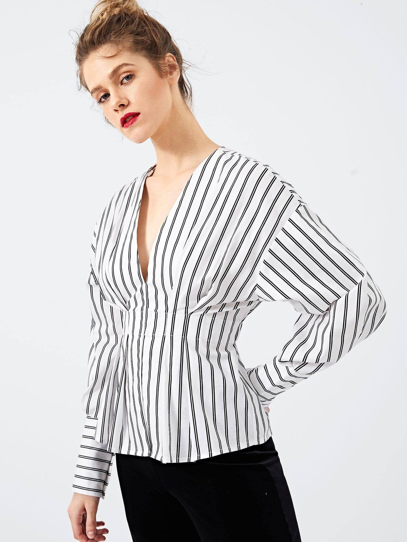 Купить Тонкая-полосатая блуза с низким V-образным вырезом, Victoriab, SheIn