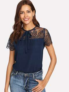 Lace Yoke Tie Neck Top