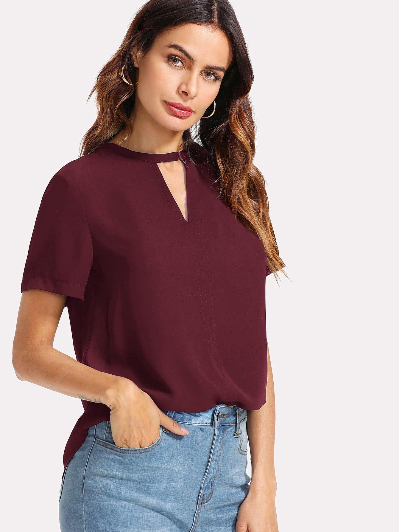 Купить Твердая блузка с v-образным вырезом, Andy, SheIn