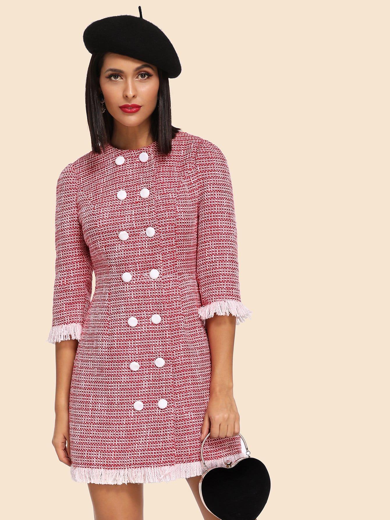 Купить Платье из грубого сукна и с украшением двух кармана, Verob, SheIn