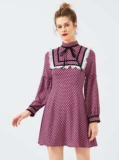 Tie Neck Ruffle Print Dress