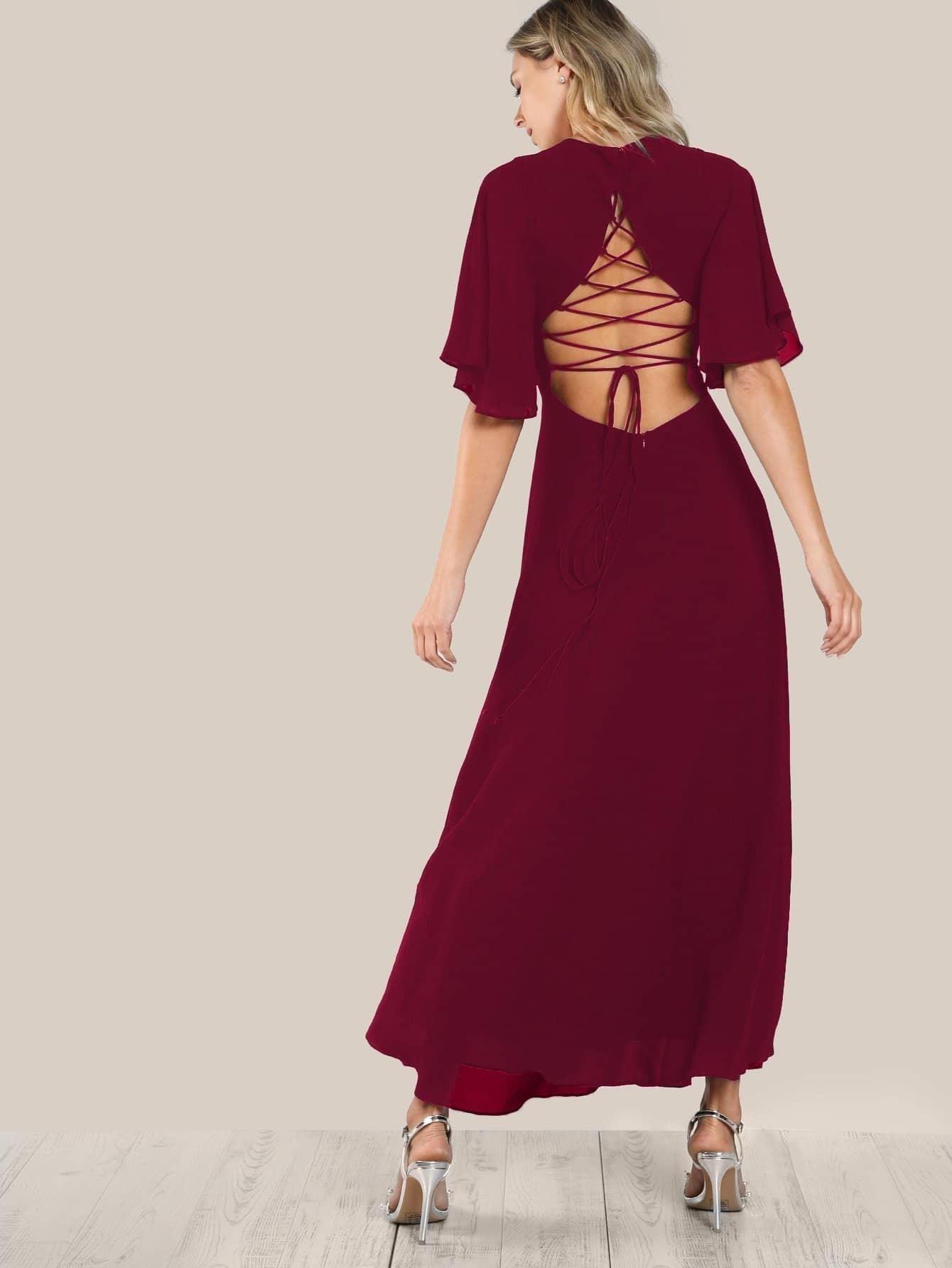 Купить Платье с открытой спиной и рукав-фонариками, Zorana, SheIn