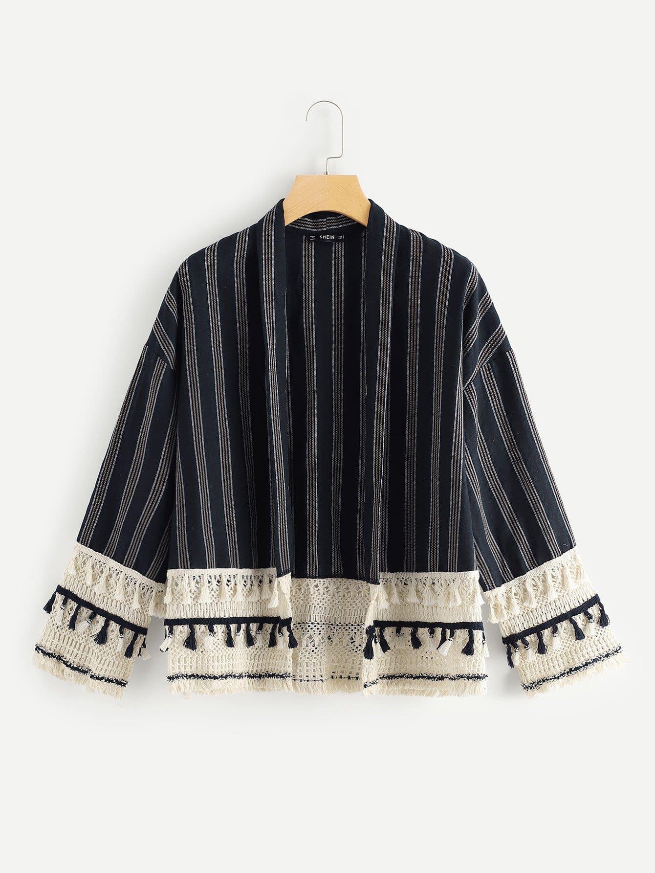 Купить Куртка с падениями плеча и украшена бахромами, null, SheIn