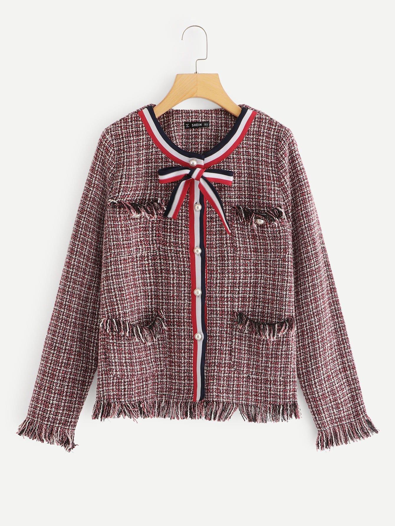 Купить Пальто из твида с полосатыми лентами, null, SheIn