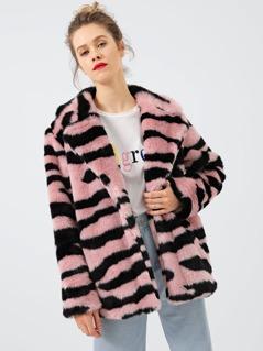 Open Placket Faux Fur Teddy Coat