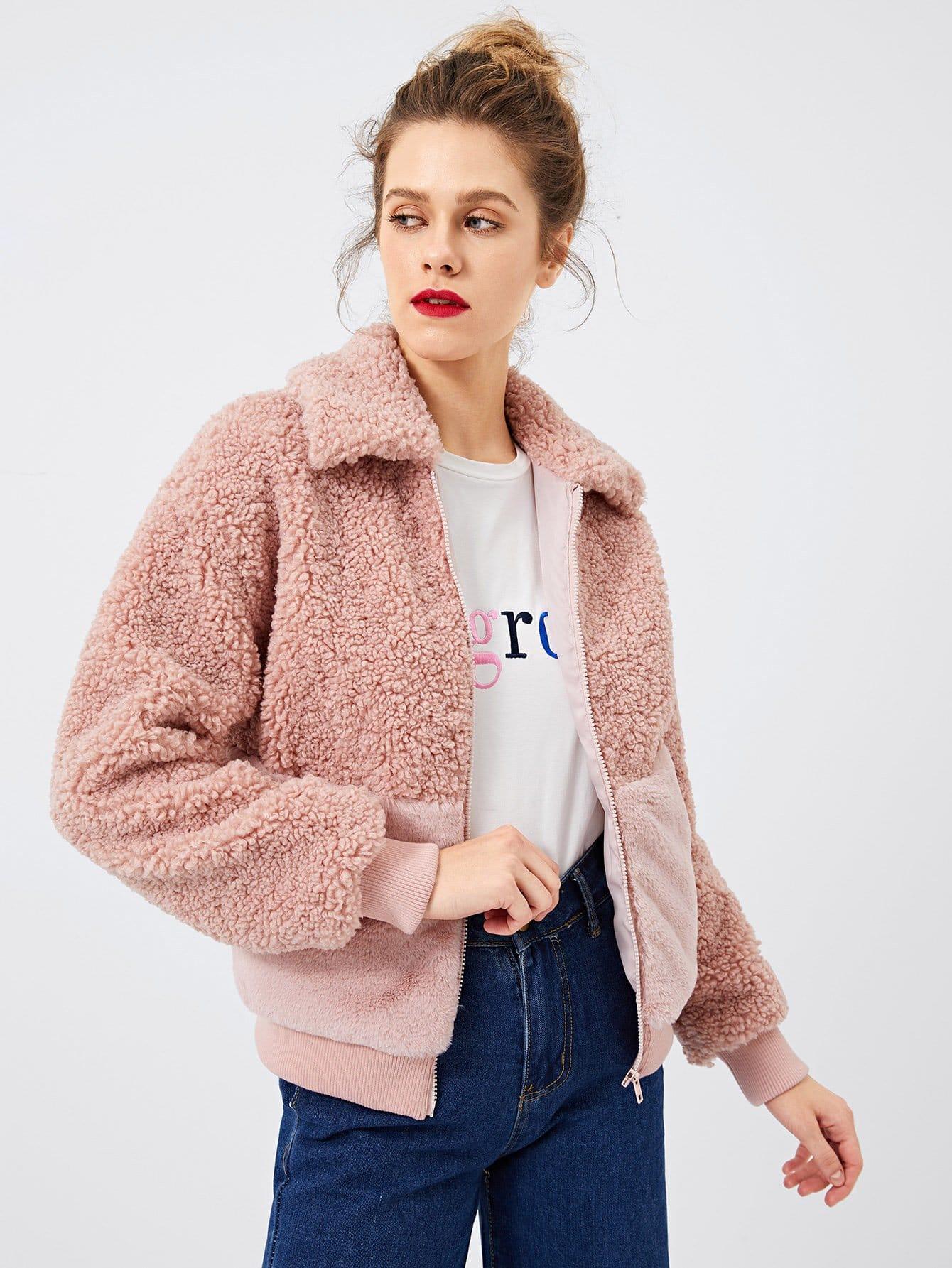 Купить Пальто из искусственных мехов и с застёжкой молния О-кольца, Victoriab, SheIn