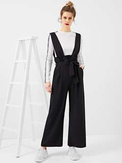 Belted Pleated Waist Palazzo Pants With Thick Strap