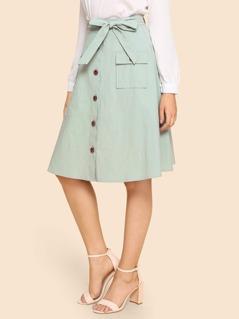 Waist Belted Button & Pocket Up Skirt