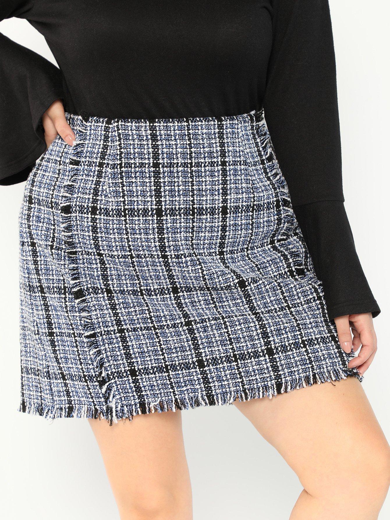 Купить Большая юбка с высокой талией и со сырыми оторочками, Faith Bowman, SheIn