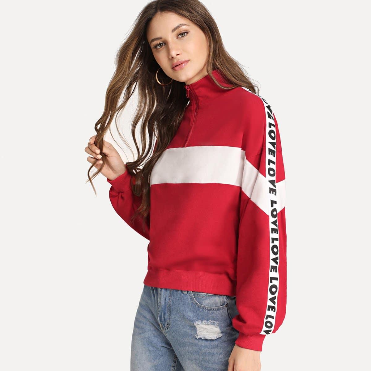 Rood Sporten Tekst Sweater Rits