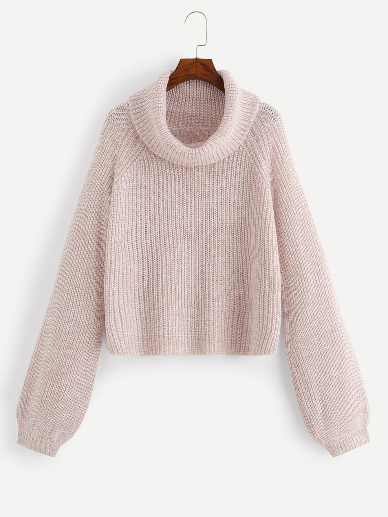 Купить Плюс Ролл-Шея Marled Knit Sweater, null, SheIn