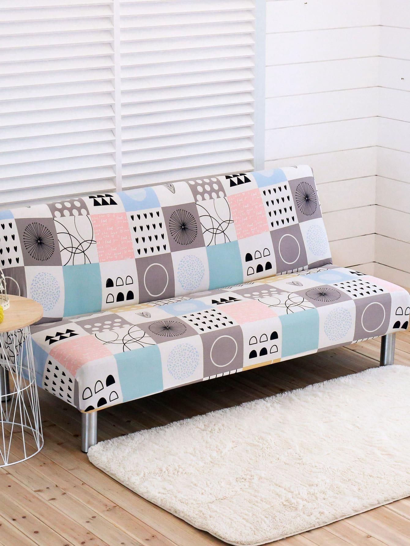 Эластичный чехол для дивана с принтом геометрических фигур