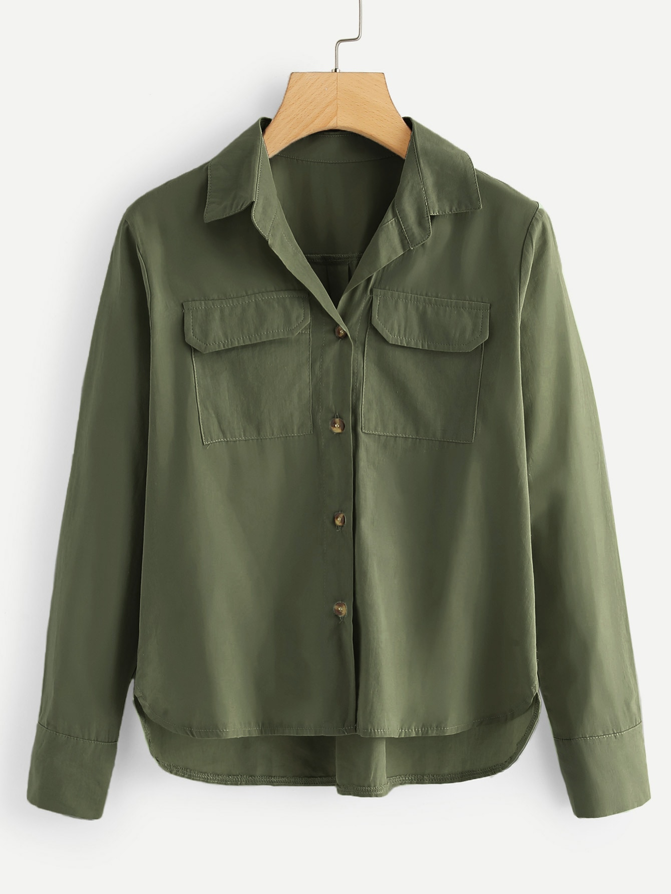 Купить Цветахаки Пуговица Одноцветный Повседневный Блузы+рубашки, null, SheIn
