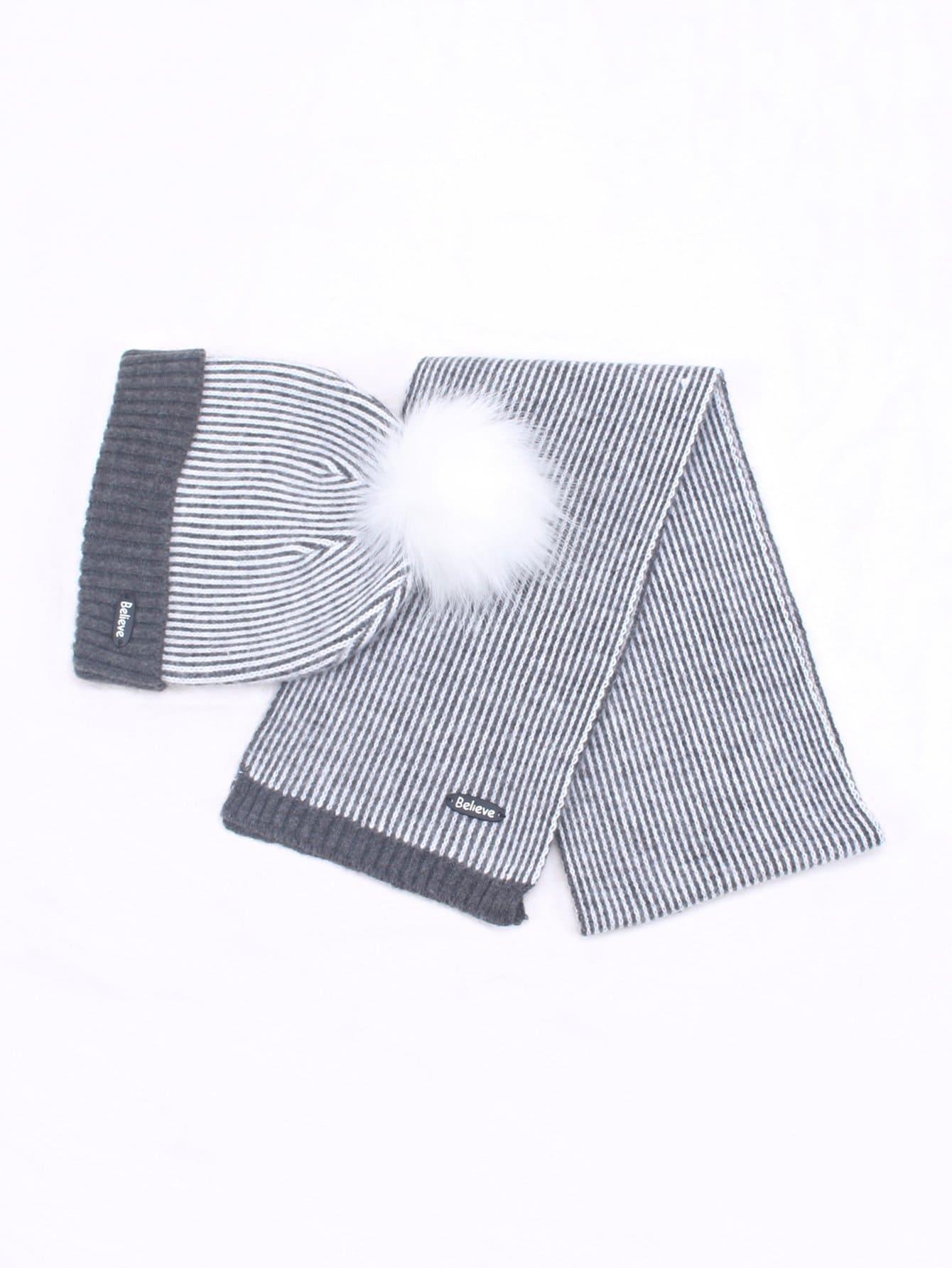 Купить Детский шапочки шляпа в полоску со шарфом, null, SheIn