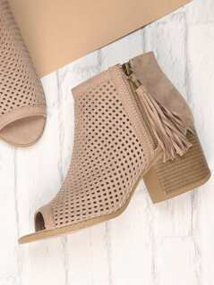 Tassel Zip Perforated Peep Toe Heel Ankle Booties