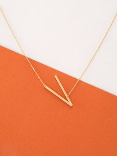Dainty Gold Chain Large Letter V Pendant Necklace