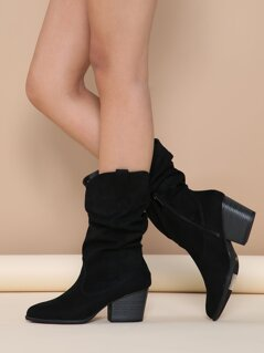 Slouchy Almond Toe Chunky Heel Western Boots